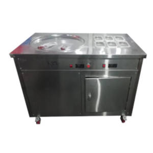 ice cream roll machine with refrigerator